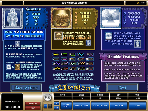 Avalon pokie game paytable