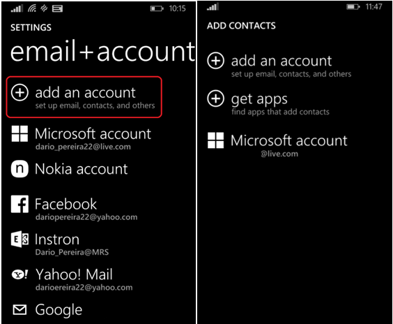 Contacts on Windows phone
