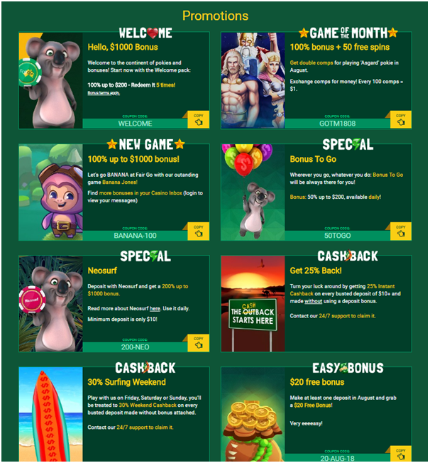 Fair Go Casino- Find latest bonuses