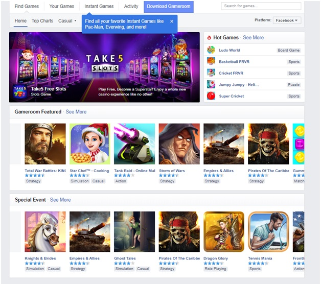 Games to play on Facebook Gameroom