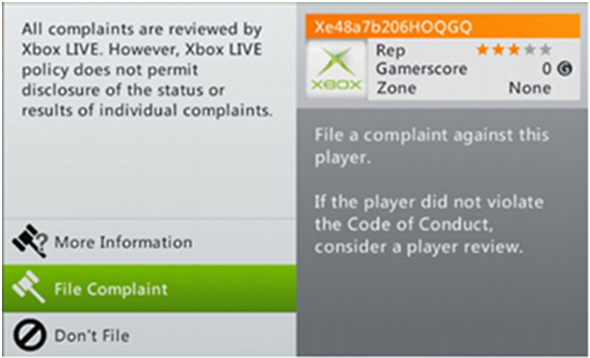 How to complain about abusive players in Xbox one