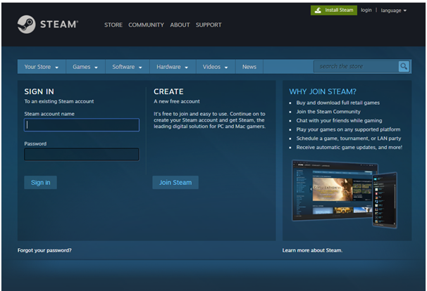How to create Steam Account