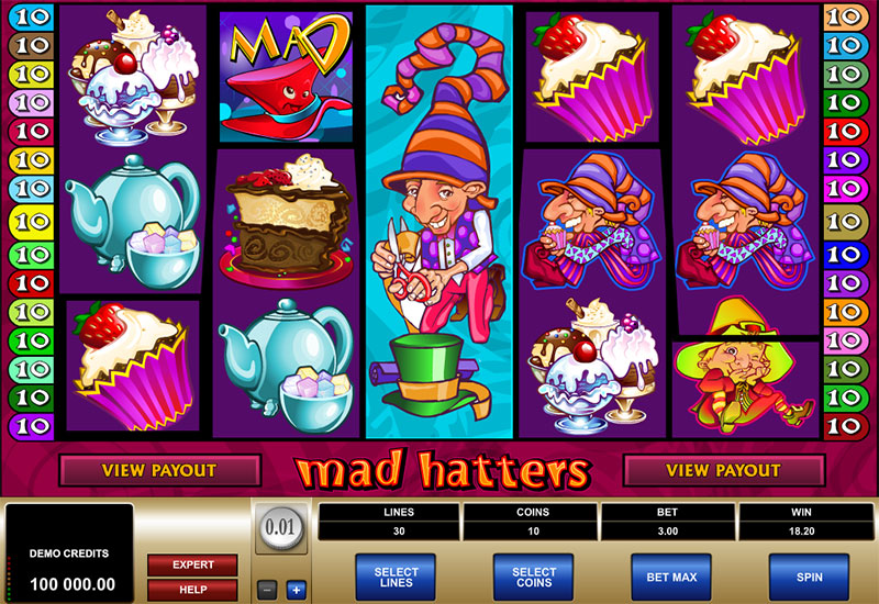Mad hatters pokie game