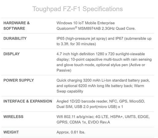 Panasonic Toughpad phone specifications