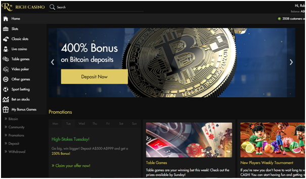Rich casino BTC bonus