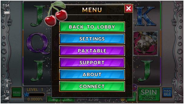 Casino Game Menu