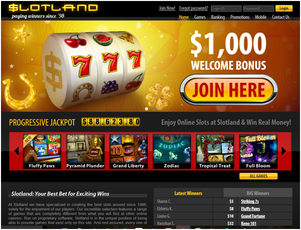 Slotland casino Bonus offers