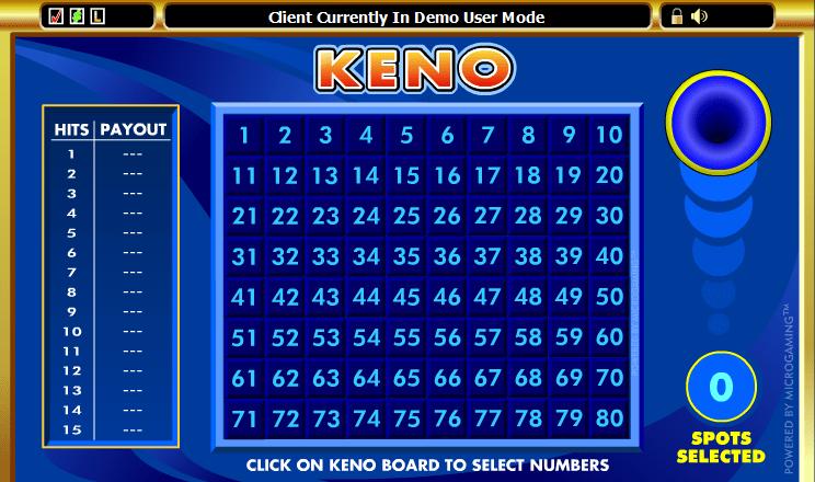 Standard Keno game
