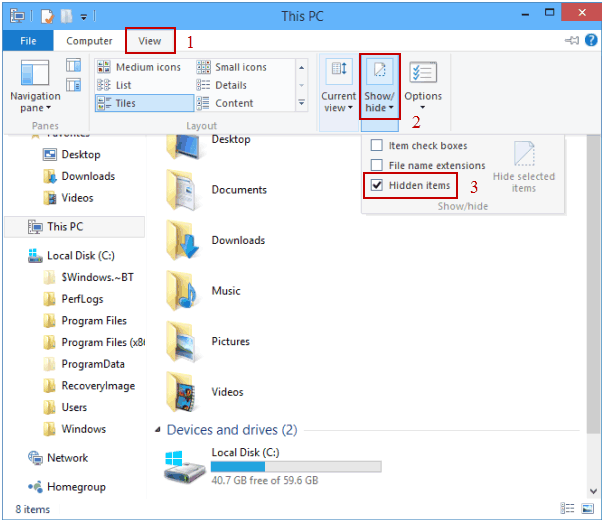 How to find hidden files in Windows