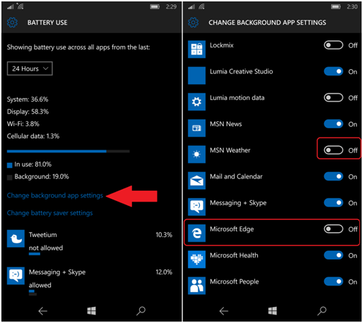 Windows Mobile Change Battery Settings