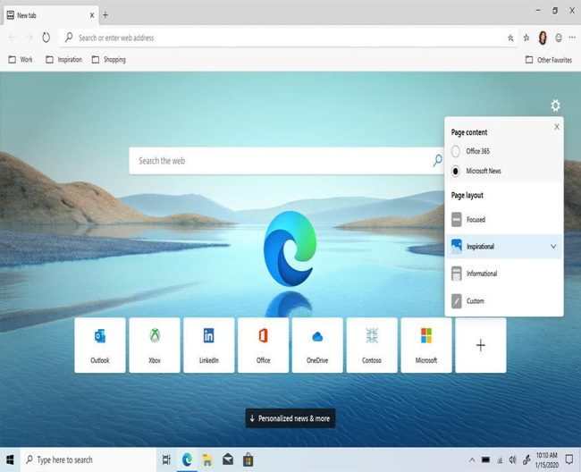 Windows home page
