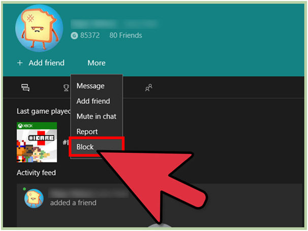 Block and report Xbox live game